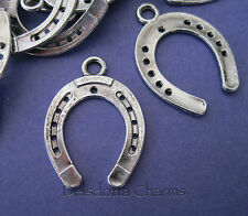 10 HORSESHOE CHARMS 25x23mm SILVER TONE METAL JEWELLERY MAKING PENDANTS (G5)