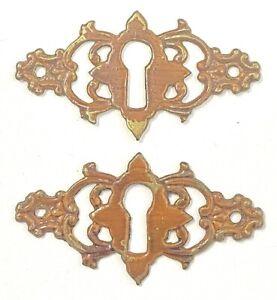 "Vintage Brass Skeleton Key Hole Cover Escutcheon 2 1/4"""