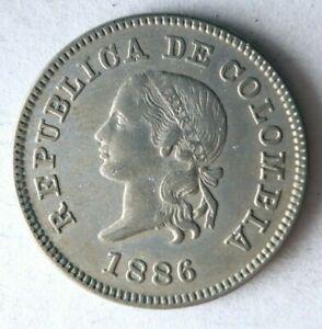 1886 COLOMBIA 5 CENTAVOS - AU - RARE Vintage Coin - Lot #F23