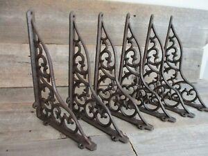 6 LARGE Shelf Braces Wall Brackets Cast Iron Brackets Vine Garden Corbels Rustic