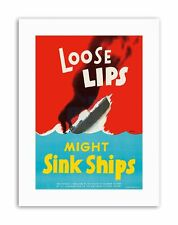 WAR WWII USA LOOSE LIPS SINK SHIPS TORPEDO Poster Military Canvas art Prints