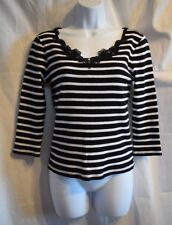 Chaps Petite Black & White Striped V Neck Battenburg Lace Knit Top Size P/S