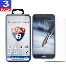 (3 Pack) GLASAVE Tempered Glass Screen Protector For LG Stylo 3 Plus Bubble Free