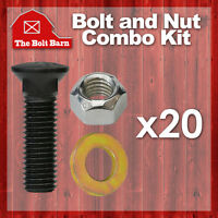 (20) 5/8-11x2 Grade 8 Dome Head Plow Blade Bolts 5/8-11 Hex Lock Nuts & Washers