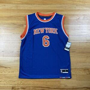 New Mens New York Knicks Kristaps Porzingis #6 Blue Jersey Size L