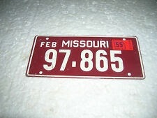 1955 Missouri Bicycle Licence Plate Wheaties Cereal Premium bike tin