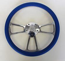"Falcon Thunderbird Galaxie Steering Wheel Blue & Billet 14"" Ford Center Cap"