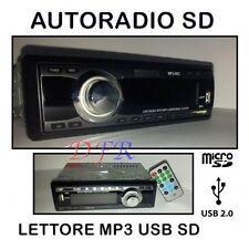 AUTORADIO STEREO FM CON FRONTALINO ESTRAIBILE USB MP3 SD CARD 1 DIN UNIVERSALE