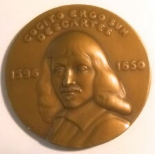 Médaille René Descartes Philosophe Cogito ergo sum  signé C.ELSBACH