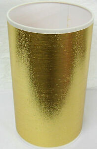 Hand Made Gold Shimmer Cylinder Lampshade With White PVC Inner