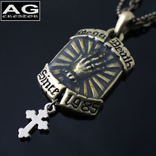 """Hand printing hanging cross pendant with 19"""" double chain necklace US SELLER"""