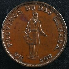 LC-8B1 Halfpenny token Un sou 1837 Lower Bas Canada Quebec Bank Breton 522