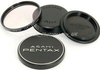 Asahi PENTAX Skylight Filter 49mm, Metal Front Cap, TAKUMAR Rear & Body M42 Caps