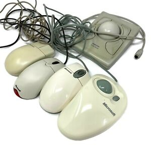 Vintage Microsoft 5 LOT Button Mouse & Kensington Turbo Ball Mouse FREE Shipping