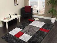High Quality Modern Design Red Black Grey Heavy Rug in 5 sizes Carpet Runner