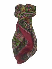 Mulberry Silk traditionnel FOULARD CARRE MAHE rouge par pashmina & soie