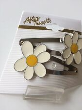 Vintage Barrettes Daisy Clips Hair Flower Power Mod Dead Stock Anime Daisies
