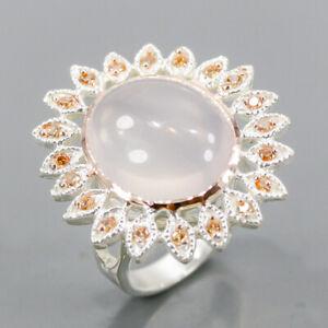 Fine Art SET Rose Quartz Ring Silver 925 Sterling  Size 7.75 /R163217