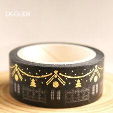 Christmas Set Gold Foil Printing Japanese Washi Paper Tape 15mm X 5m PR