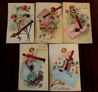 Pretty~ Set of 5 Antique PFB Valentines Postcards ~Cupids~Flowers~ Lot-g368