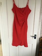 Lipsy Red Ruched Cami Dress Size 8 Bnwt