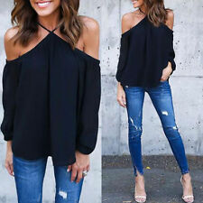 Women Summer Loose Chiffon Off Shoulder Shirt Tops Long Sleeve Casual Blouse New