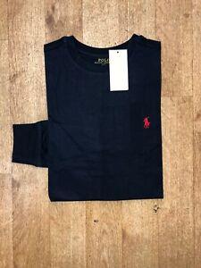 Ralph Lauren Men's Custom Fit Long Sleeve Crew Neck T-Shirt - Navy - Small