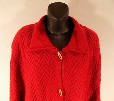 Red Cardigan Knit Sweater 3x Pockets Wood Buttons Comfortable Women Plus Bargain