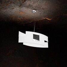 Lampadario in vetro bianco e cromato moderno a 1 luce tpl 1121/S55-CR