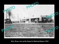 OLD LARGE HISTORIC PHOTO OF POST TEXAS, VIEW OF THE RAILROAD DEPOT STATION c1910
