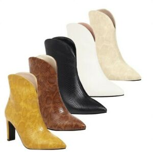 5 Colors Women Party Western Snakeskin Print Block Heel Pointy Toe Ankle Boots D