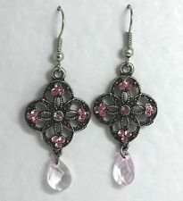 LOVELY sparkly DARK SILVER PLATED DROP EARRINGS WITH PINK GLASS STONES