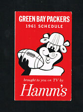 Rare 1961 Green Bay Packers Hamm's Beer NFL Football Pocket Schedule
