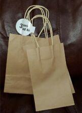 Small 3 pack Kraft paper tan handle gift bags.
