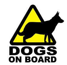 3 x DOG WARNING CAUTION DOG TRIANGLES DOGS ON BOARD         (s152)