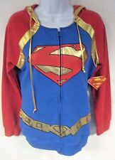 New NWT Superman Women's Shirt Hooded Zipper Long Sleeve Junior Size Large 11/13