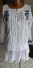 FREE PEOPLE size L sheer lace peplum boho embroidered pintuck top  LUXE