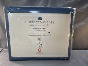 Northern Nights 600TC Egyptian Cotton 6 Piece Sheet Set Cali King Blue Slate
