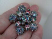 Vintage Faceted Rainbow Iris Glass Rivet Back Silver Tone Flower Brooch Pin