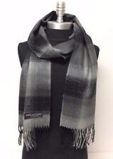 NEW Men's 100% CASHMERE SCARF Scotland Soft Wool Wrap Plaid Check Grays Black