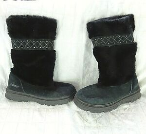 Khombu Size 9 Black Faux Fur Black Real Suede Boots Clean Pull On Cute Stylish