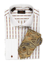 Dress Shirt by Steven Land Trim&Classic Fit French Cuff -Brown/White-TW501-MU