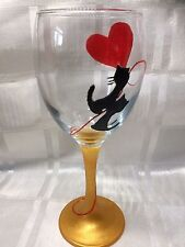 Hand Painted Two Black Kittens Cats Red Heart Balloon Large Washable Wine Glass