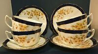 Queen's China Cups Saucers G.W. Sons England Cobalt White Yellow Floral Set of 4