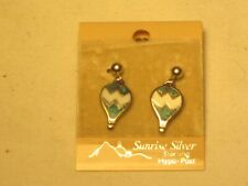 Sunrise Silver Sterling inlaid turquoise hot air balloon earrings earring jewelr