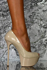 GIANMARCO LORENZI DAMEN HIGH HEELS PLATEAU STILETTO PEEP TOE LACK NUDE PUMPS 36
