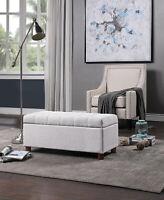 39'' Storage Bench Tufted Linen Fabric Ottoman Storage Bench Footrest
