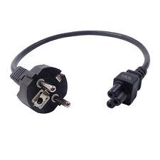 Netzkabel (Schutzkontaktstecker CEE 7/7 gerade auf Kleeblatt C5). 50cm. schwarz.