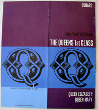 "CUNARD Brochure, 1960s -- ""The Queens 1st Class"" -- Queen Mary, Queen Elizabeth"