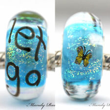 LET GO butterfly glass charm bead .925 silver european charm lampwork big hole